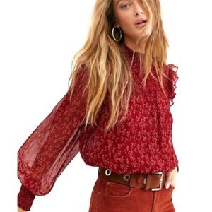 Free People Roma Blouse Floral Sheer Berry Red NWT